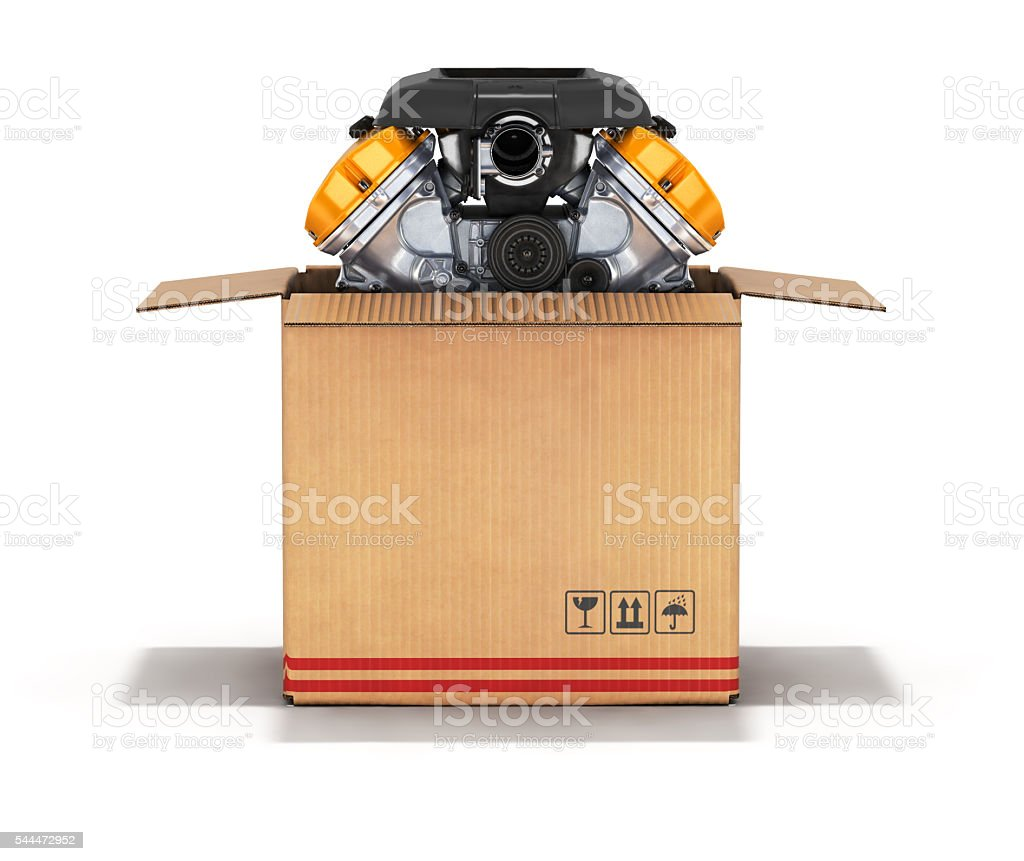 Engine in a cardboard box 3d stock photo