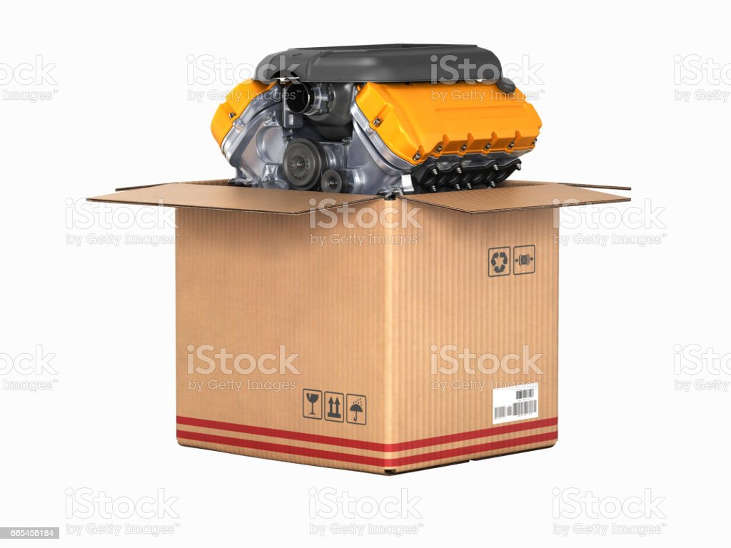 Engine in a cardboard box Concept of sale and delivery of auto parts without shadow on white background 3d stock photo