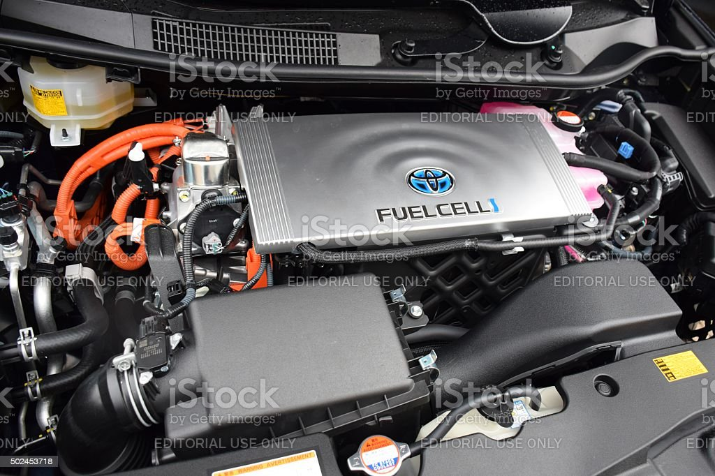 Engine in fuel cell vehicle stock photo