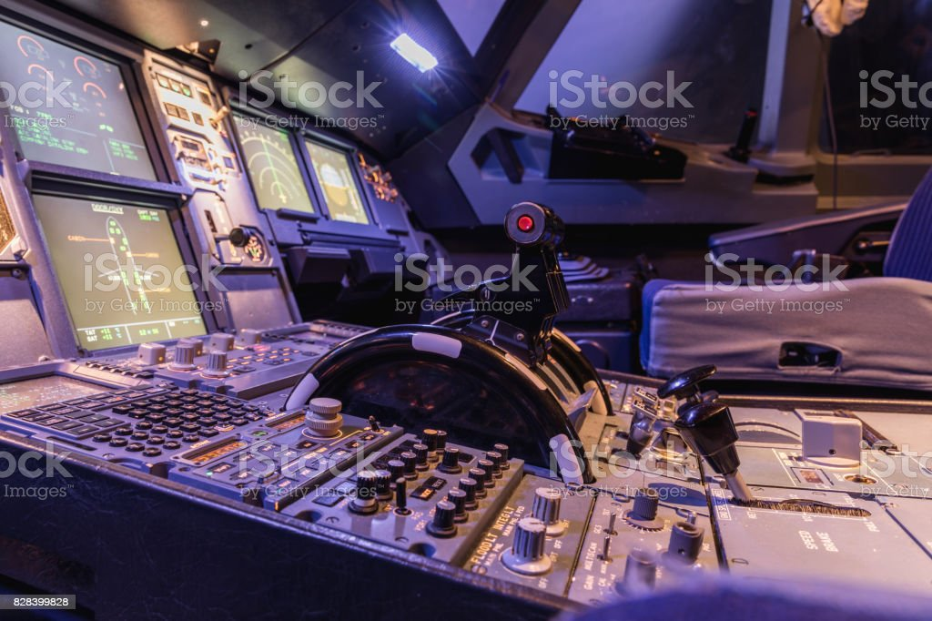 Engine lever in the cockpit of an airliner stock photo