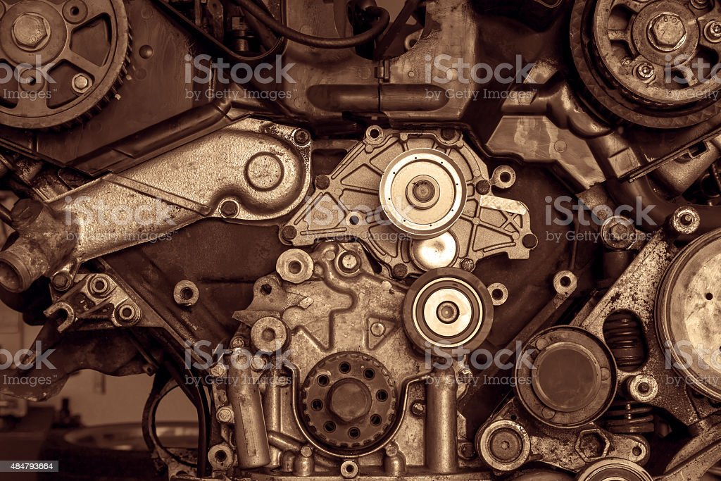 Engine of a car, detail stock photo