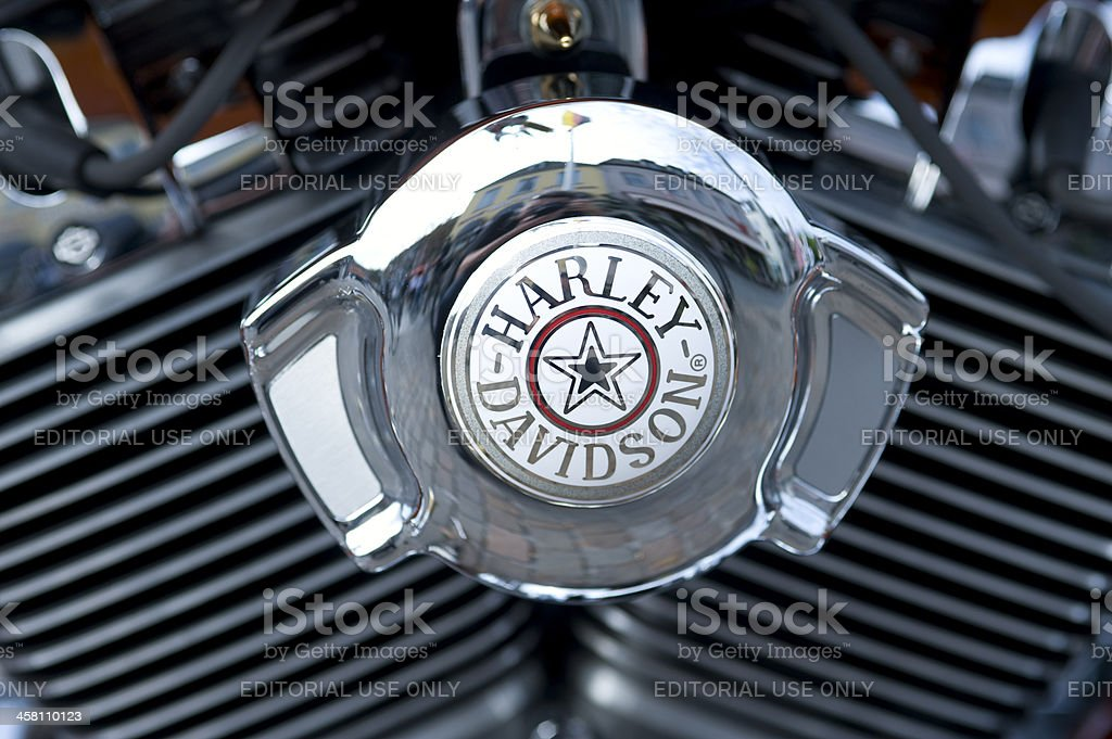 Engine of a Harley Davidson stock photo