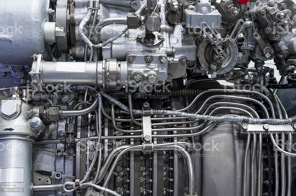 Engine of fighter jet stock photo
