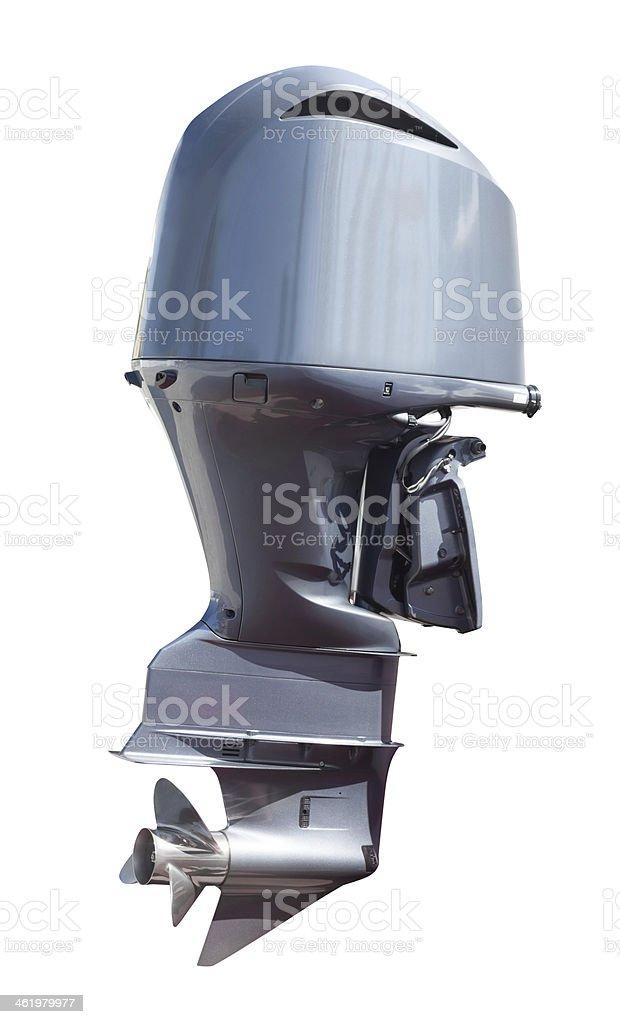 engine of motor boat over white stock photo