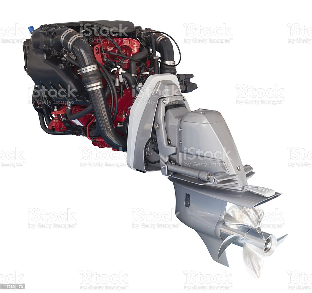 engine of motor boat over white royalty-free stock photo