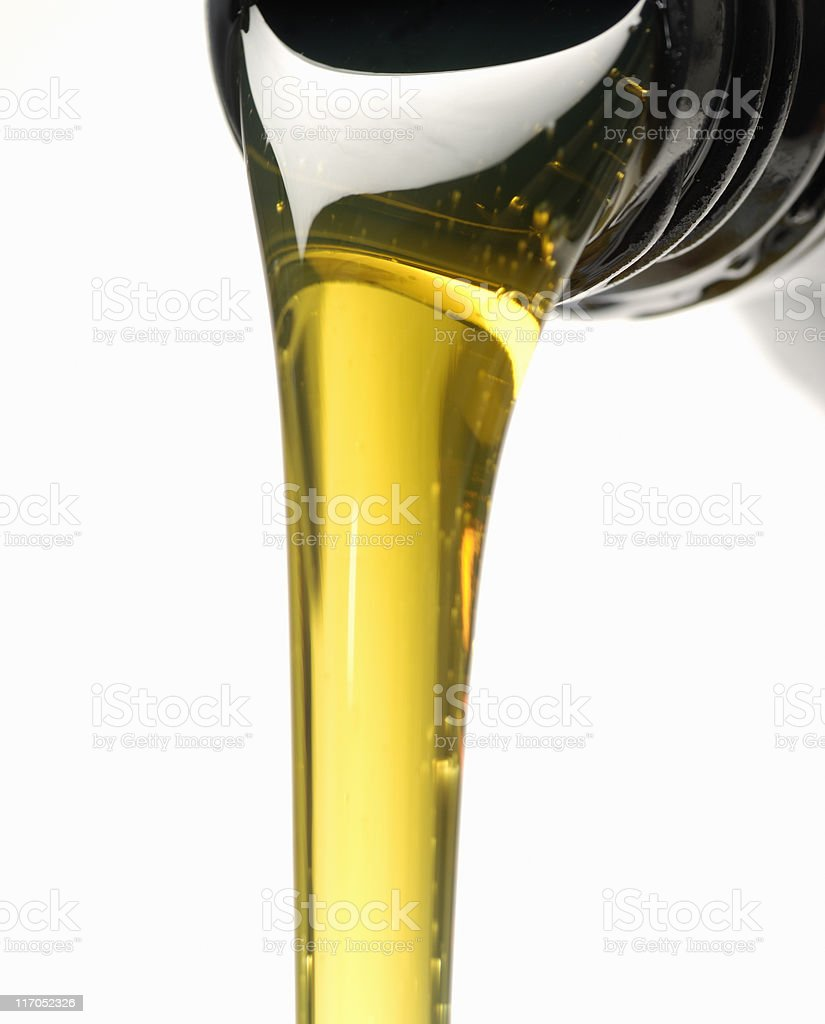 Engine oil and bottle stock photo