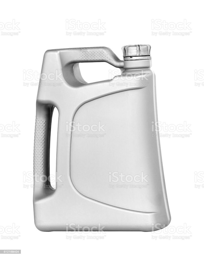Engine oil canister isolated on white background stock photo