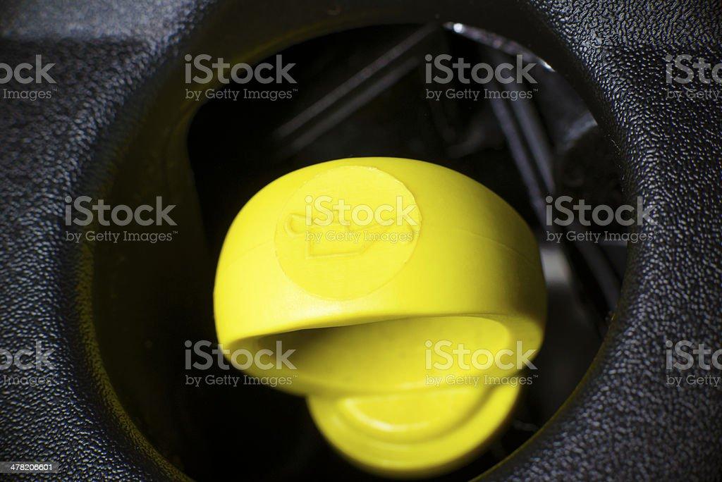 Engine oil dipstick. stock photo