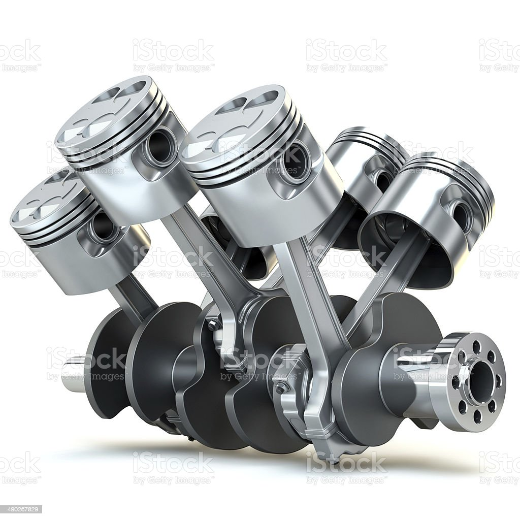 V6 engine pistons. 3D image. stock photo