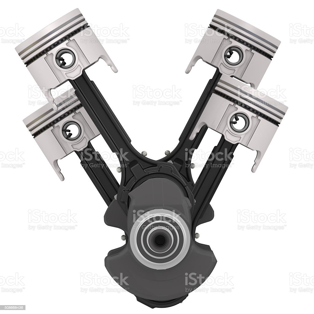 Engine pistons and crankshaft assembly stock photo