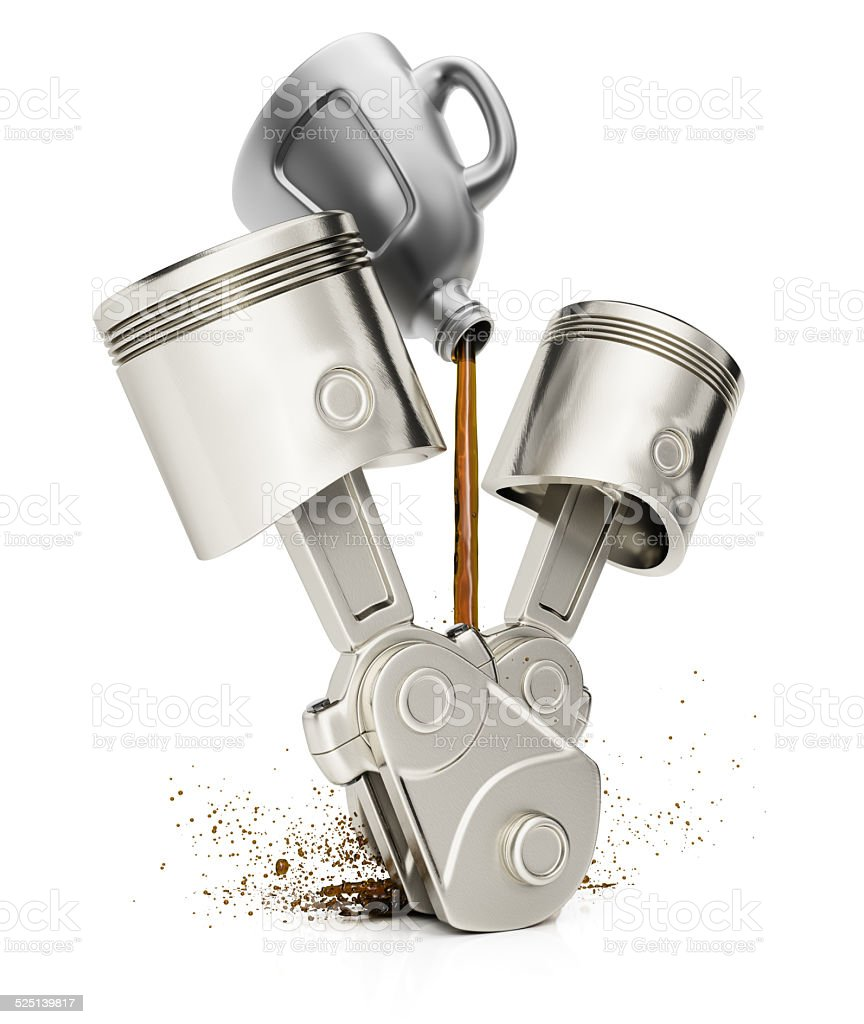 Engine pistons and motor oil stock photo