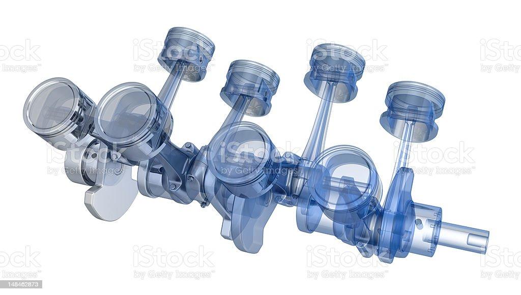 V8 engine pistons on a crankshaft, half x-ray version stock photo