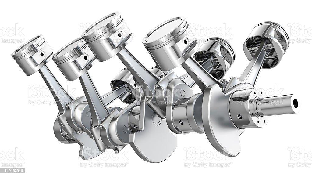 V8 engine pistons on a crankshaft stock photo