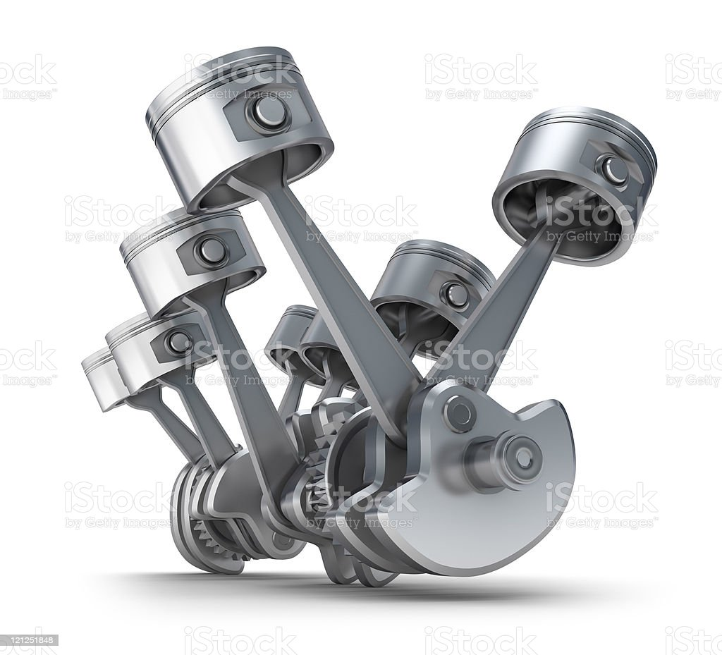 V8 engine pistons stock photo