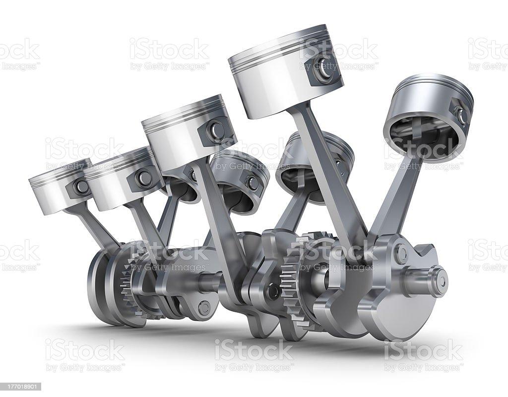 V8 engine pistons royalty-free stock photo