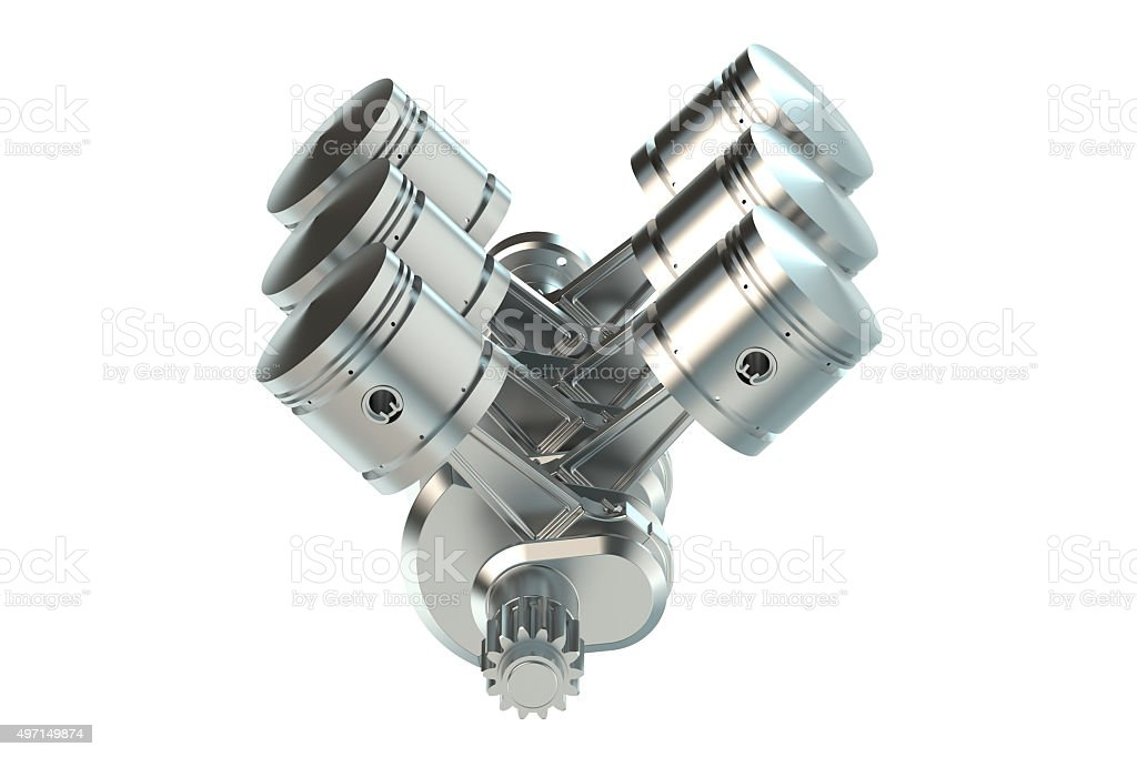 V6 engine pistons stock photo
