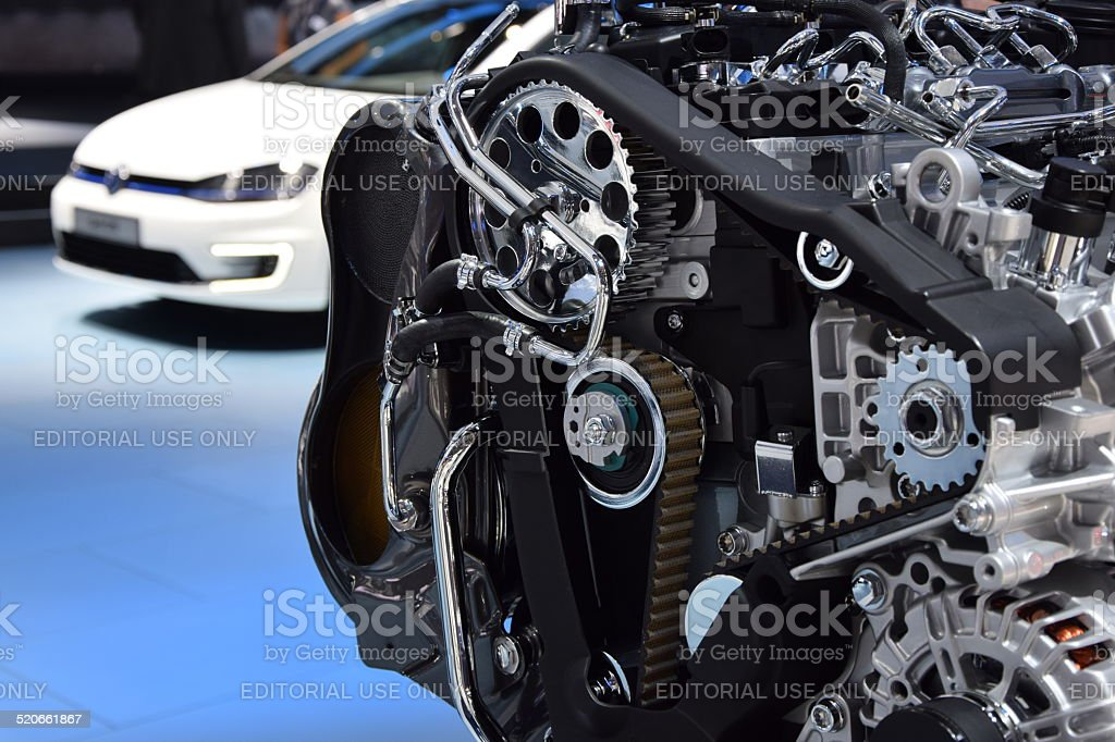 Engine presestation on the motor show stock photo