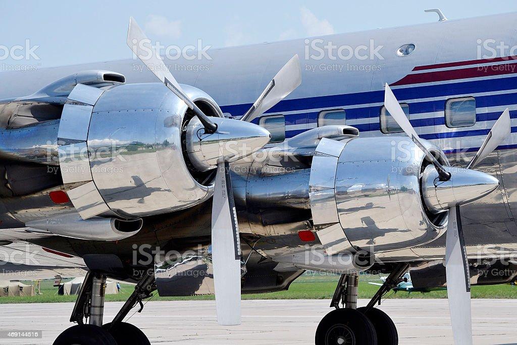 Engine propeller aircraft stock photo