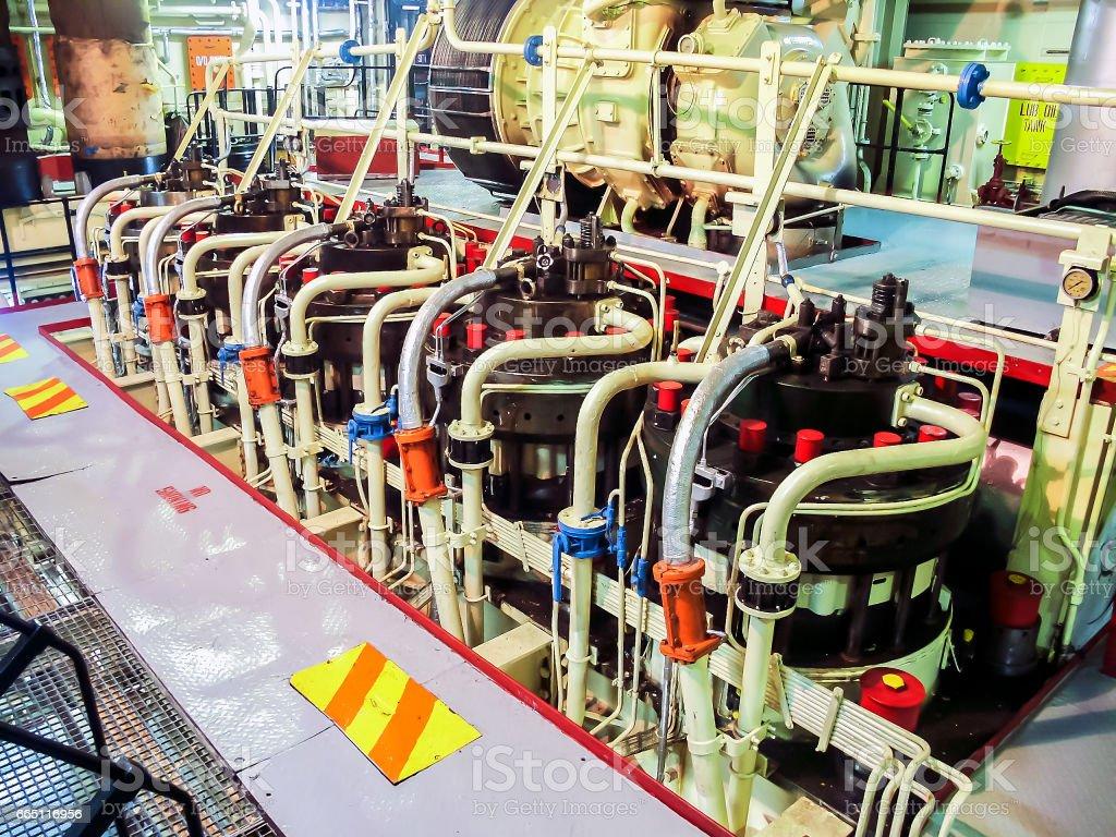 Engine room at Vessel stock photo