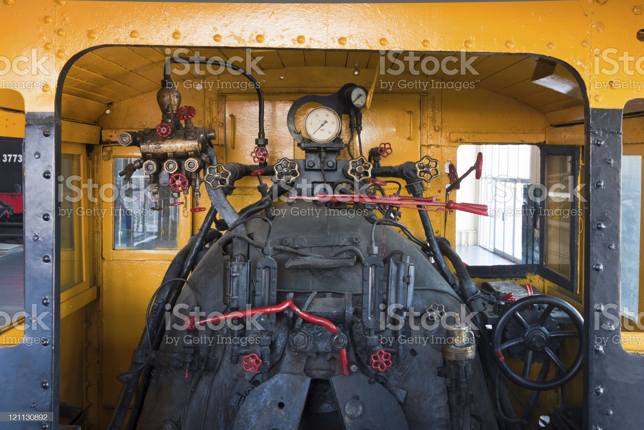 Engine room detail of a steam locomotive royalty-free stock photo