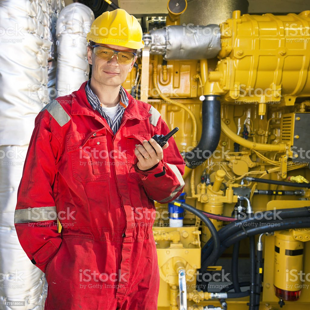 Engine room engineer stock photo