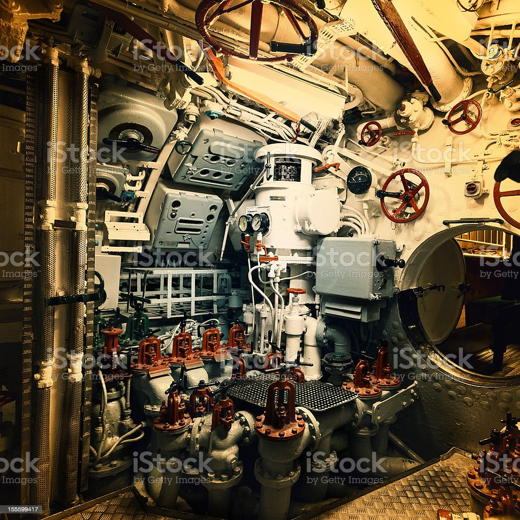 Engine room in a vintage nautical vessel stock photo