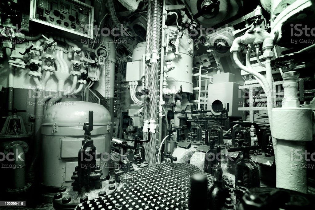 Engine room in a vintage nautical vessel royalty-free stock photo