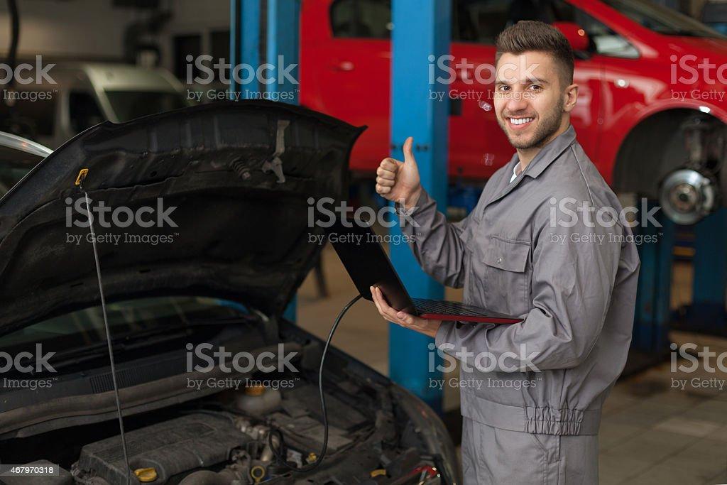 Engine testing stock photo