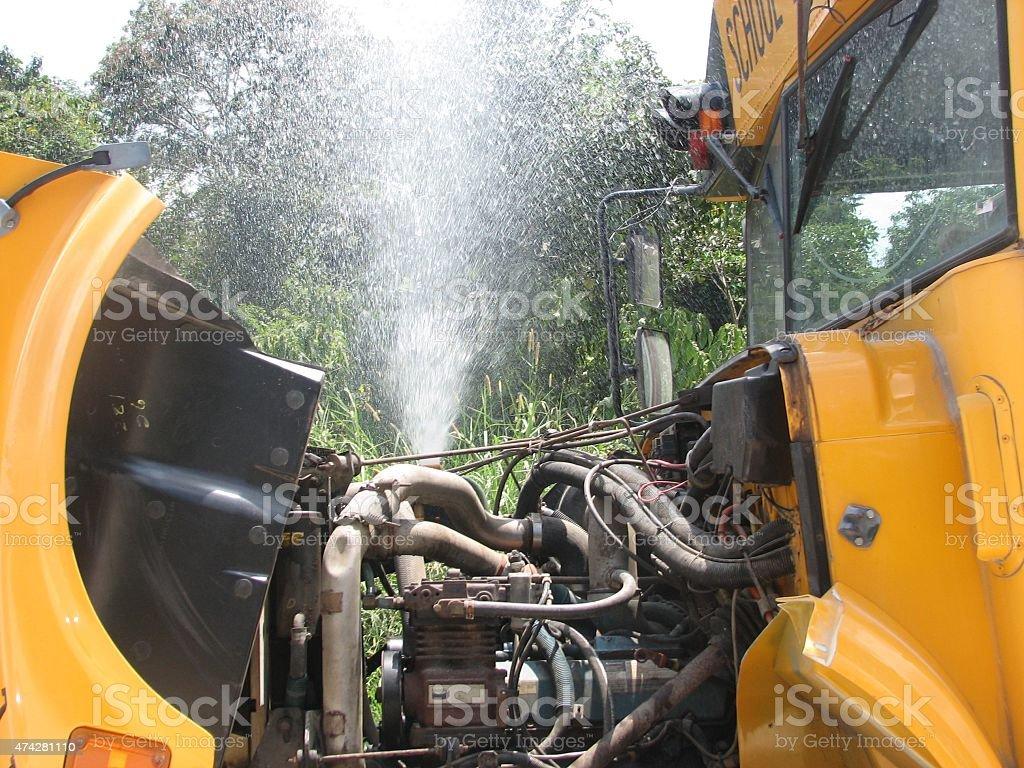 Engine Trouble - School bus stock photo
