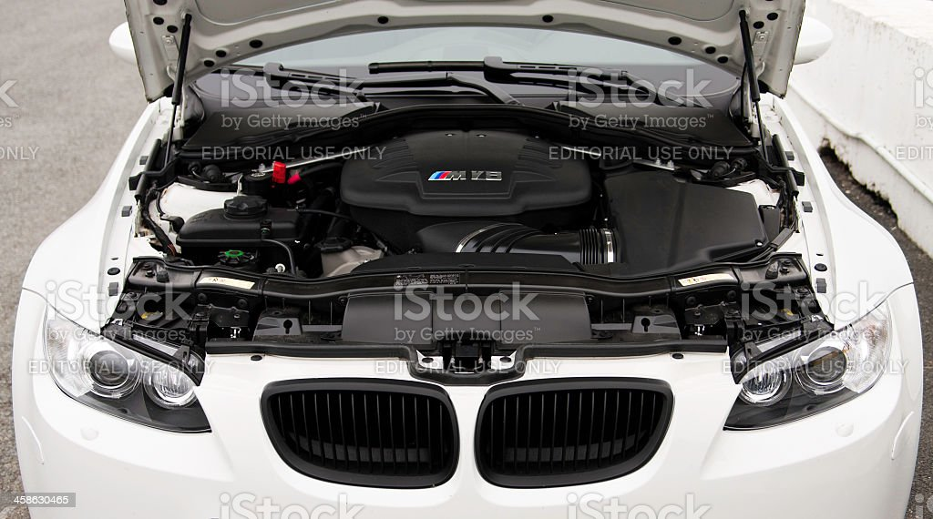 BMW M3 Engine under Hood stock photo