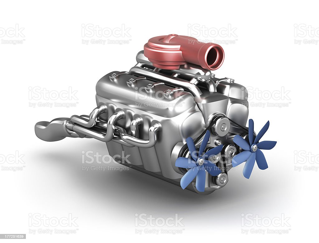 V8 engine with turbocharger stock photo