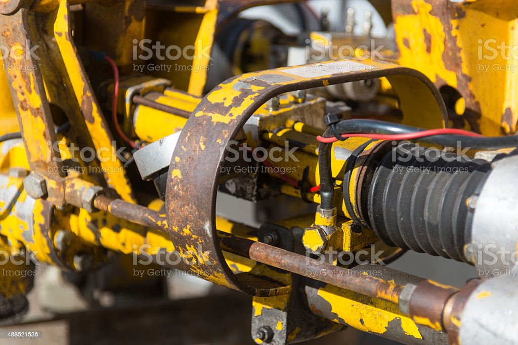engine with yellow rusty metall stock photo