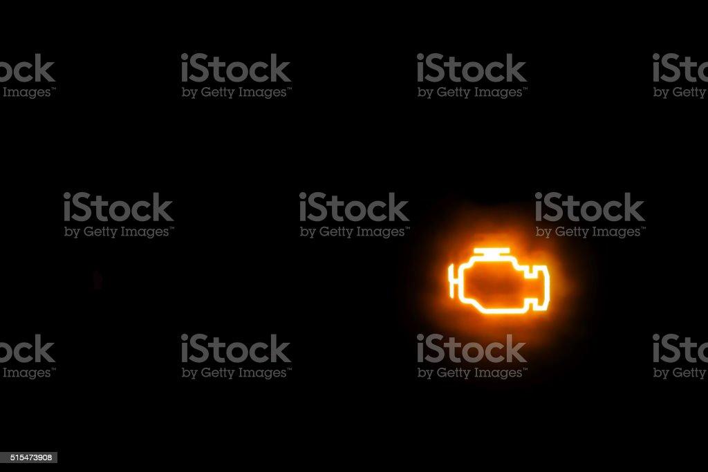 Engine/Emissions warning light show on a black background stock photo