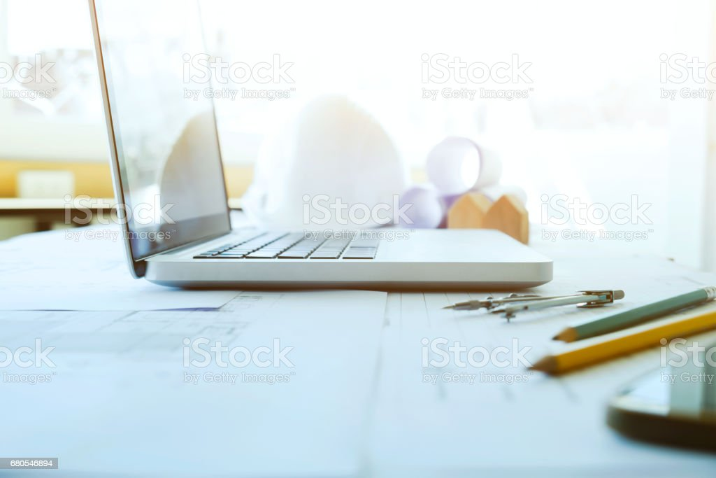Engineer and Architecture working desktop. stock photo