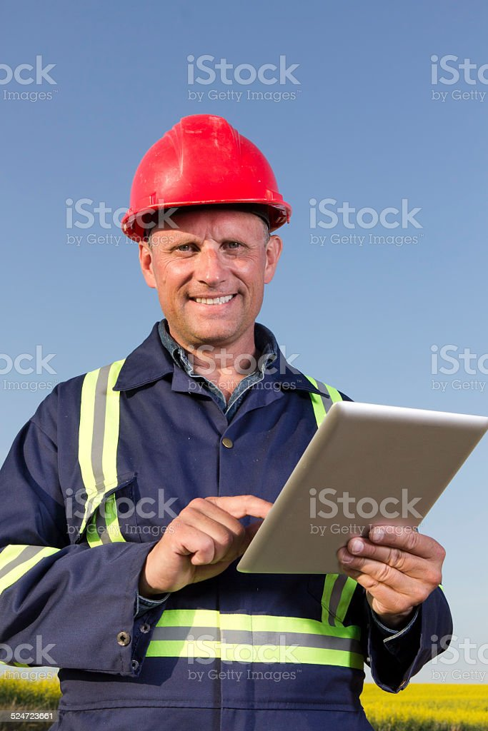 Engineer and Computer stock photo
