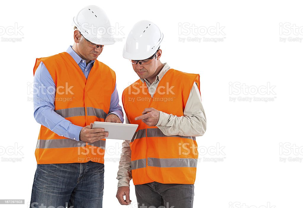 engineer and worker royalty-free stock photo