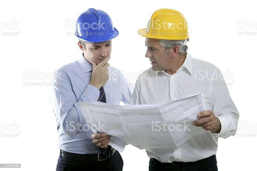 engineer architect two expertise team plan hardhat royalty-free stock photo