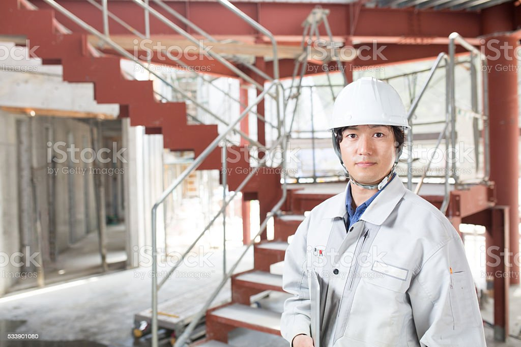 Engineer at a construction project stock photo