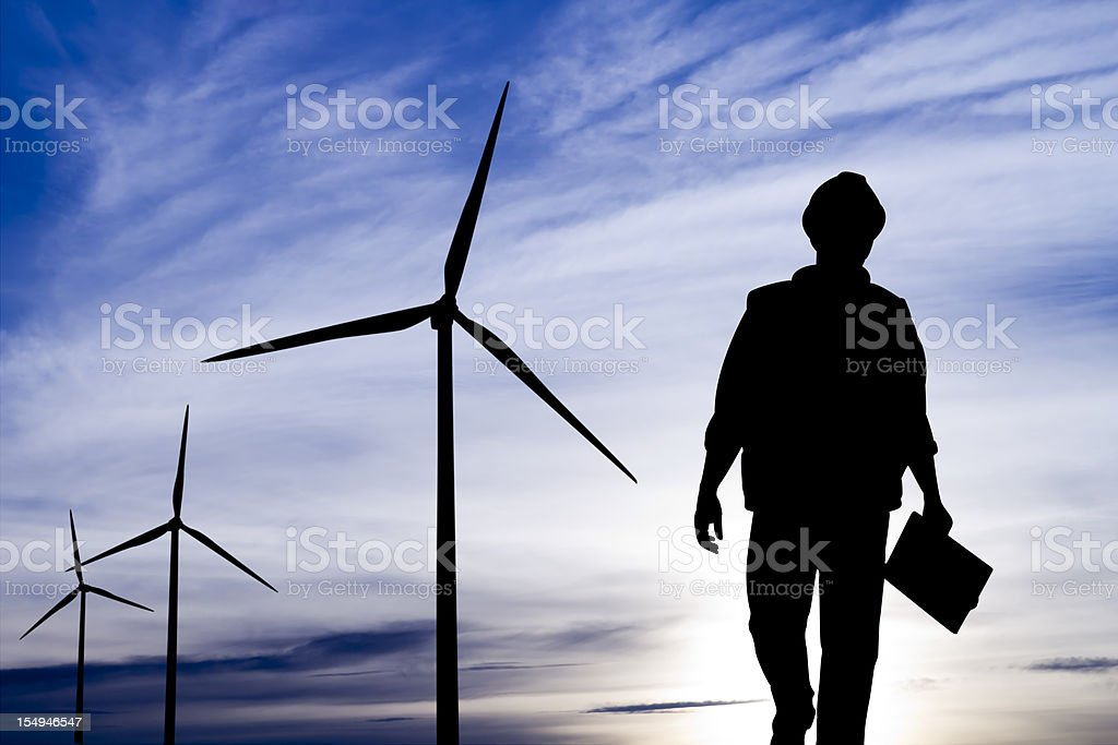 Engineer at a Wind Turbine royalty-free stock photo