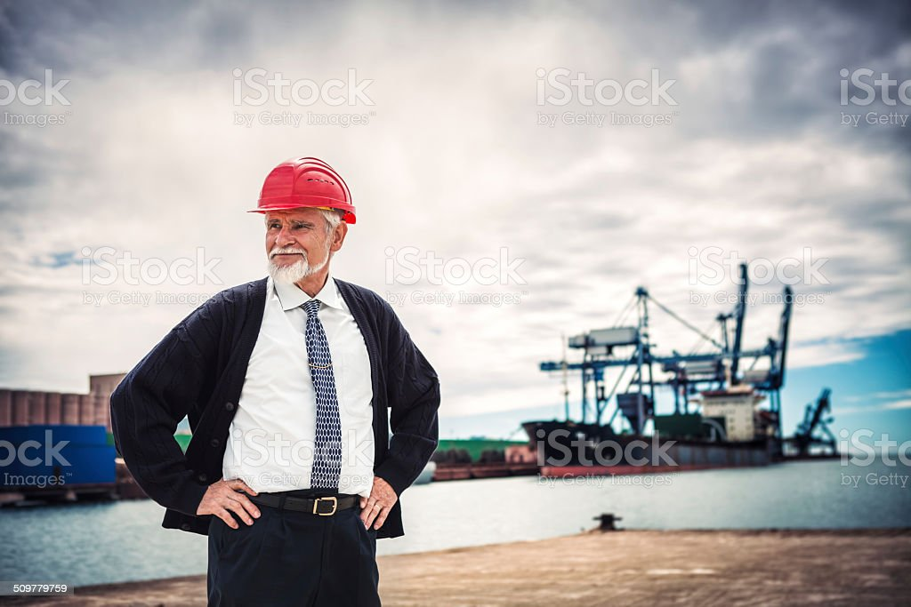 Engineer At Commercial Dock stock photo