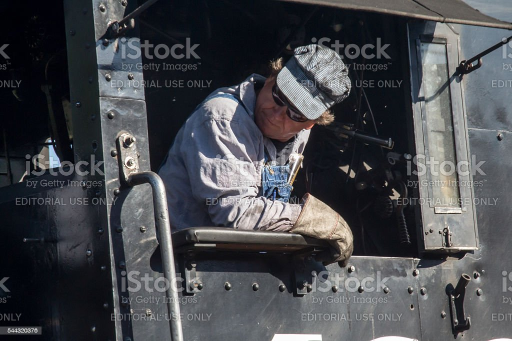 Engineer backing up the train in Durango stock photo