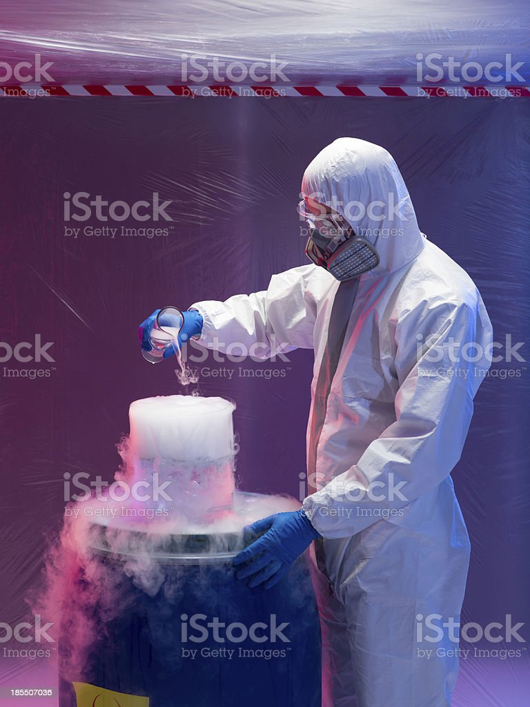 engineer blending steaming chemical substances royalty-free stock photo