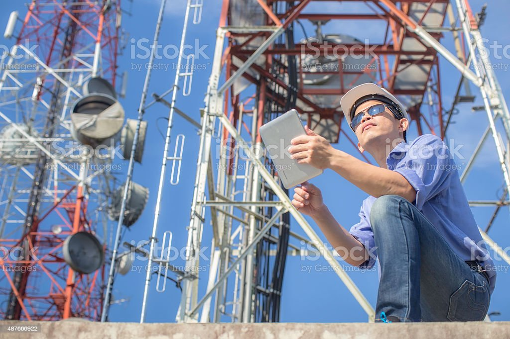 engineer communications check Antenna stock photo