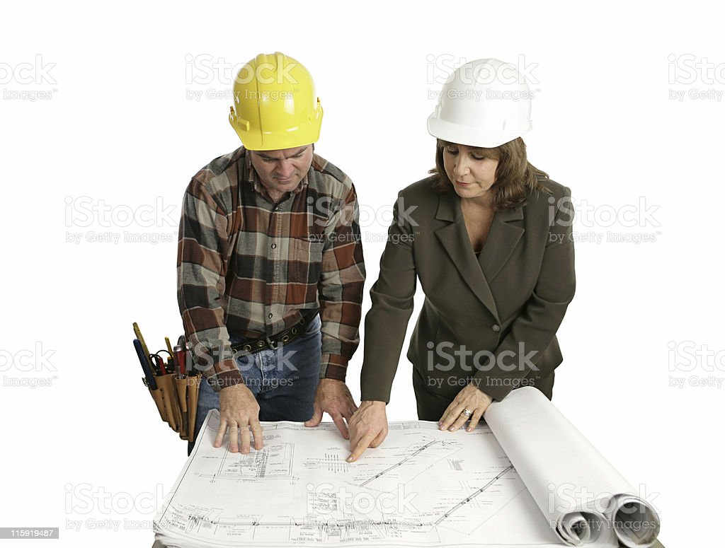 Engineer & Congractor Review Blueprints royalty-free stock photo