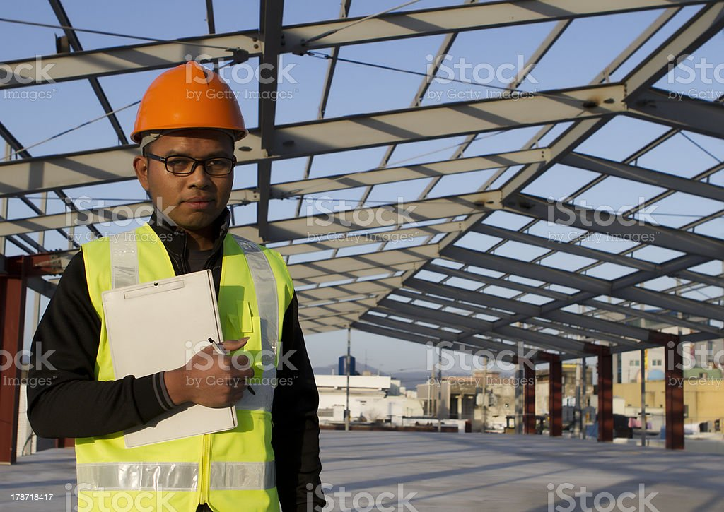 Engineer construction under new building site stock photo