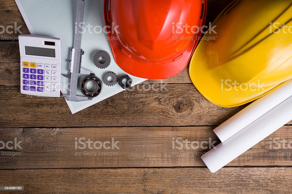engineer desk background ,project ideas concept stock photo