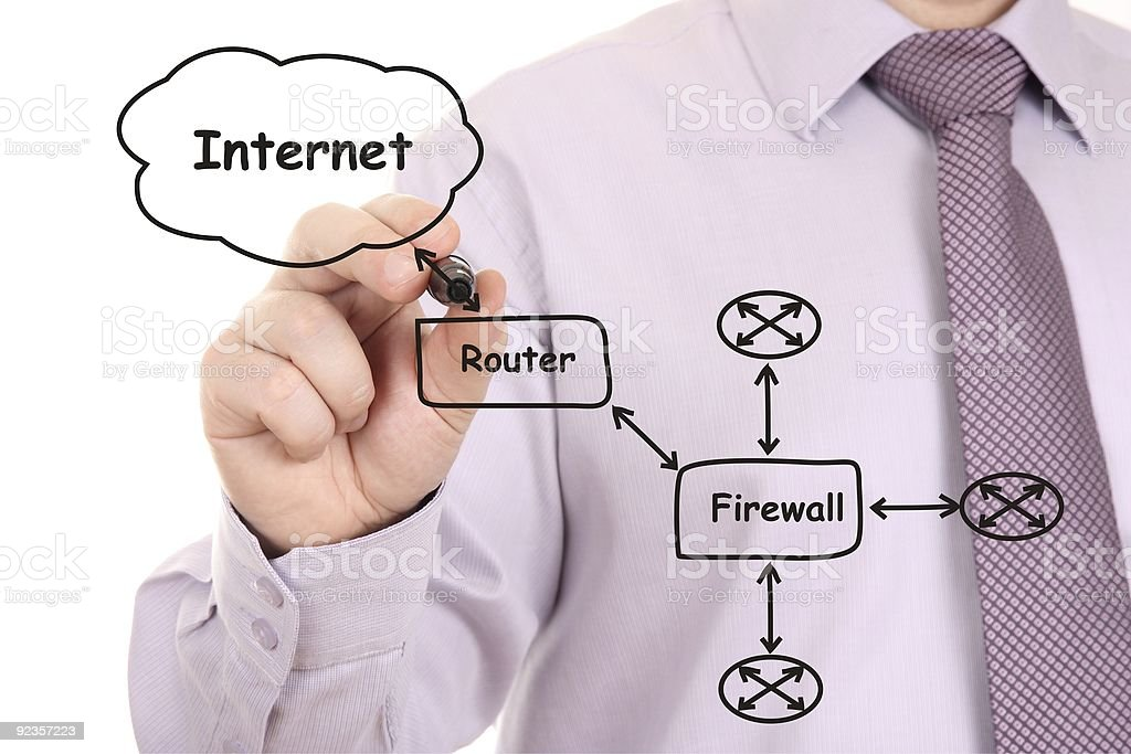 Engineer drawing  network diagram royalty-free stock photo