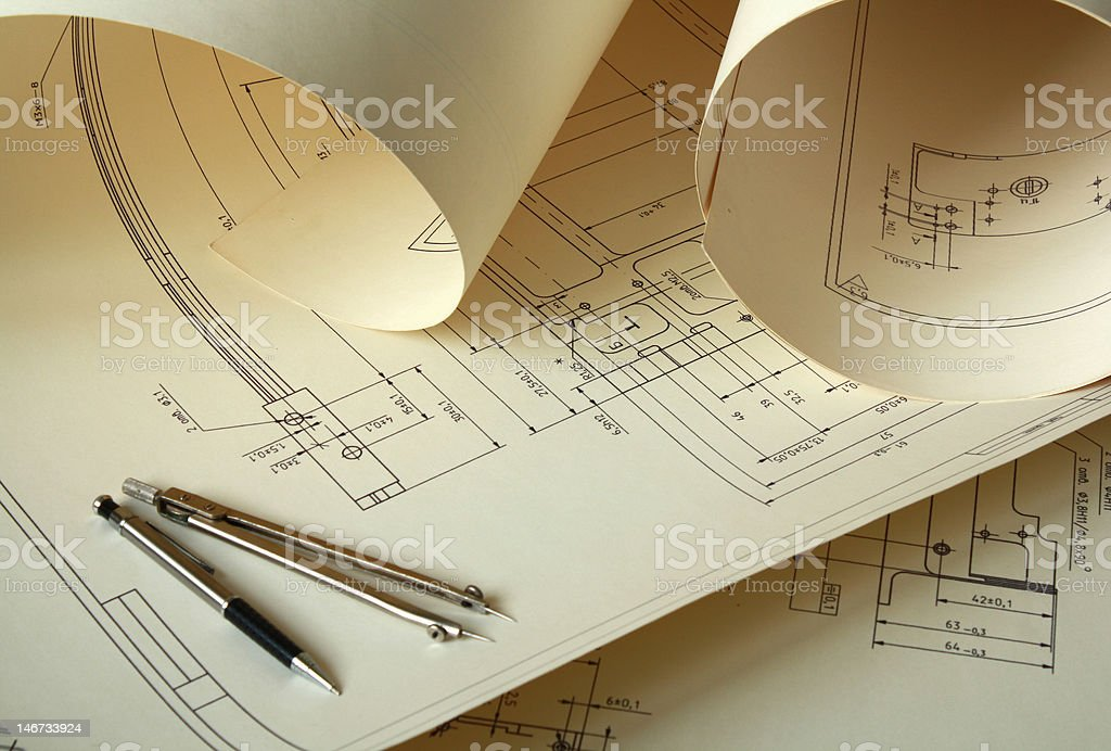 Engineer drawing royalty-free stock vector art