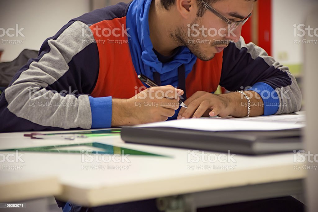 Engineer drawing royalty-free stock photo