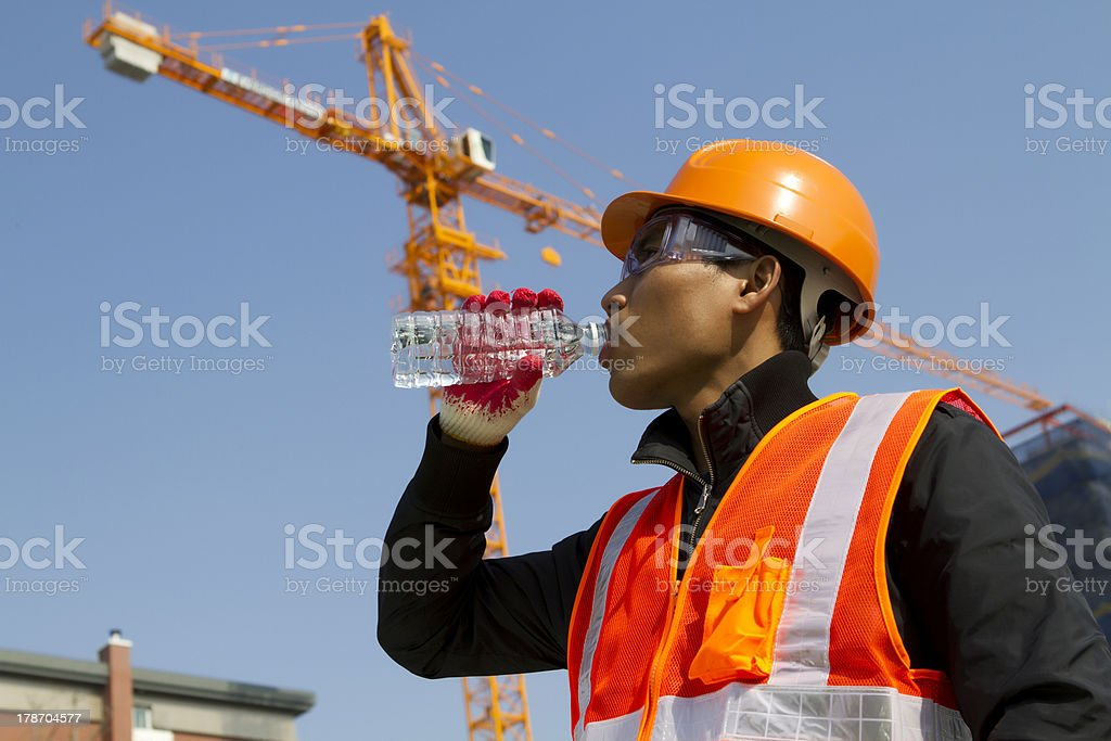 Engineer drinking water stock photo